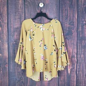 Lauren Conrad Bell Sleeve Floral Mustard Blouse XS